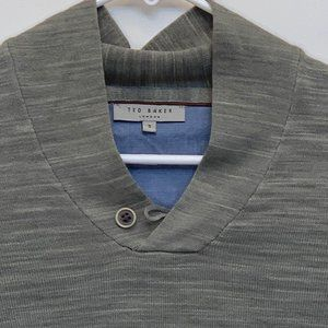 Ted Baker Mens Button Neck Pullover Gray Size 3